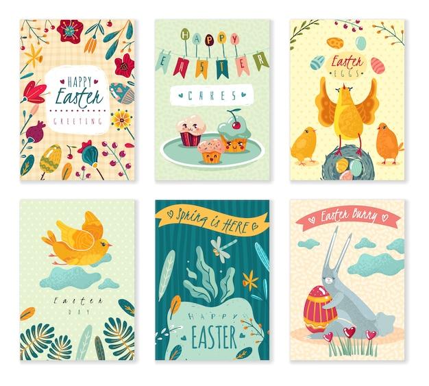 Conjunto de tarjetas de felicitación de pascua con lindos personajes de dibujos animados y flores