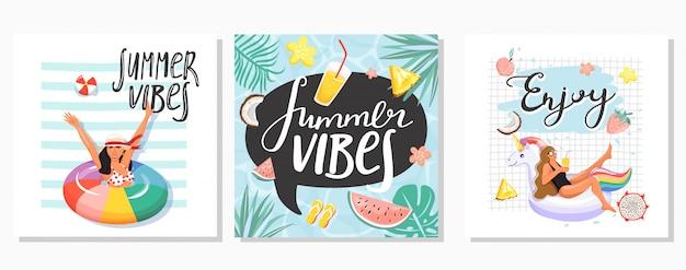 Conjunto de tarjetas de felicitación de verano.