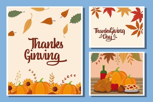 Conjunto de tarjetas de feliz acción de gracias