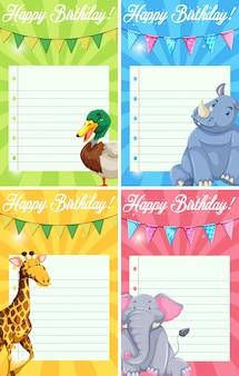 Conjunto de tarjetas de feliz cumpleaños animales