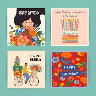 Conjunto de tarjetas de feliz cumpleaños