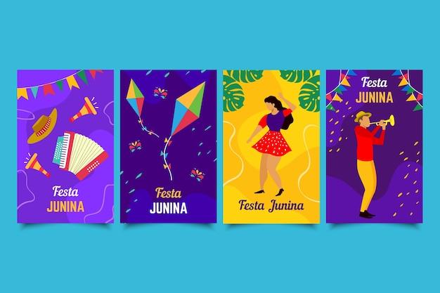 Conjunto de tarjetas de festa junina dibujadas a mano