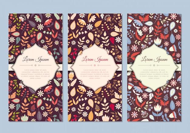 Conjunto de tarjetas florales lindo doodle vintage