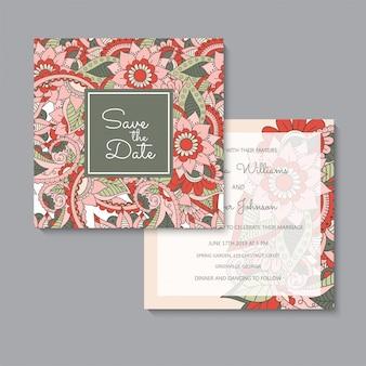 Conjunto de tarjetas florales rojas de plantilla de boda floral