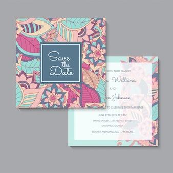 Conjunto de tarjetas florales rosa y azul de plantilla de boda floral