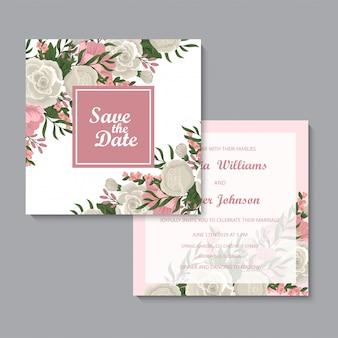 Conjunto de tarjetas florales rosa de plantilla de boda floral