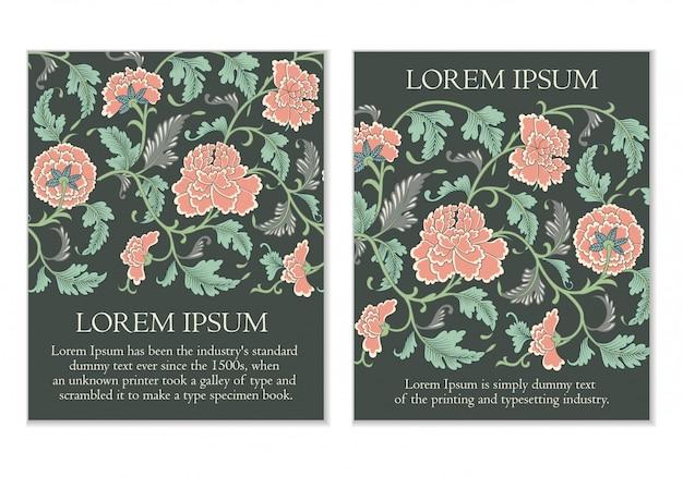 Conjunto de tarjetas florales