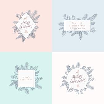 Conjunto de tarjetas de follaje navideño, carteles o plantillas de logotipos.