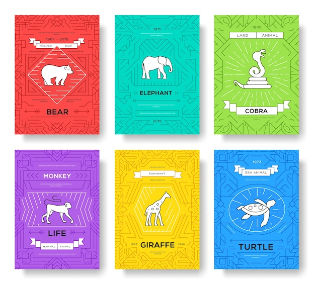 Conjunto de tarjetas de folleto de línea fina de animales