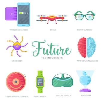 Conjunto de tarjetas de folleto de tecnología. plantilla de automatización. diseño de tecnología de inteligencia artificial.