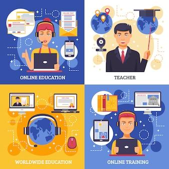 Conjunto de tarjetas de formación de educación en línea