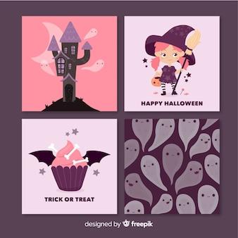 Conjunto de tarjetas de halloween rosa