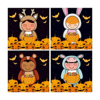 Conjunto de tarjetas de halloween