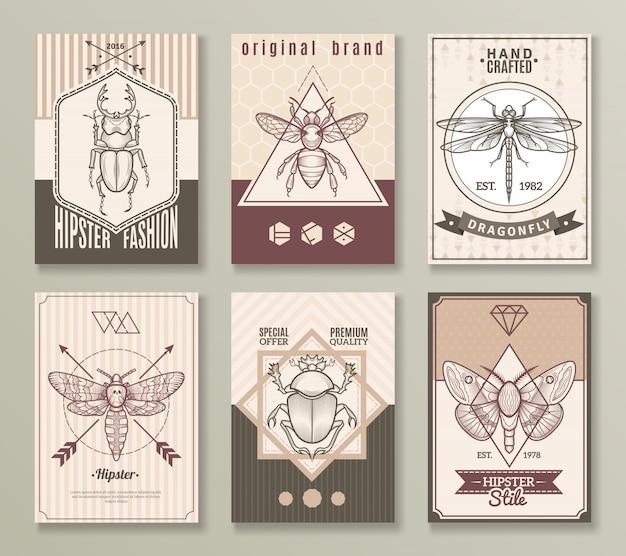 Conjunto de tarjetas hipster de insectos