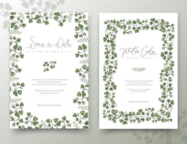 Conjunto de tarjetas de hojas de acuarela verde.