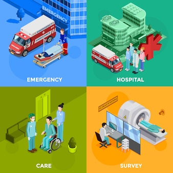 Conjunto de tarjetas de hospital