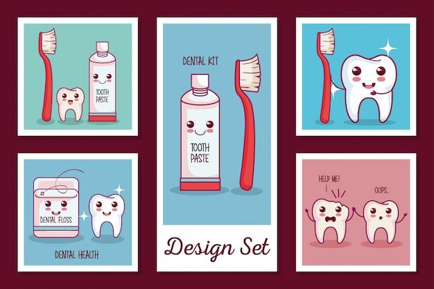 Conjunto de tarjetas de iconos de salud dental