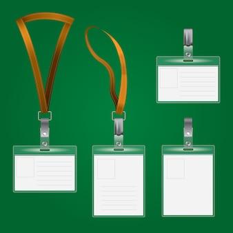Conjunto de tarjetas de identificación planas modernas