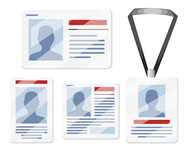 Conjunto de tarjetas de identificación. plantillas para etiqueta de nombre con cordón, placa de extremo retractor. ilustración sobre fondo blanco. página del sitio web y aplicación móvil