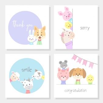 Conjunto de tarjetas con ilustración de vector de línea animal lindo arte