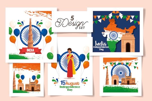 Conjunto de tarjetas de india del día de la independencia del paquete