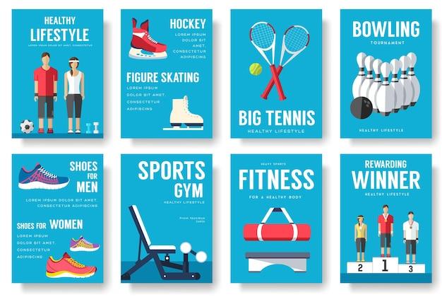 Conjunto de tarjetas de información deportiva