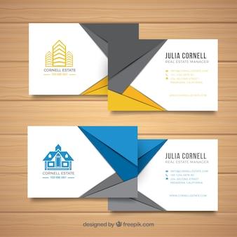 Conjunto de tarjetas de inmobiliaria
