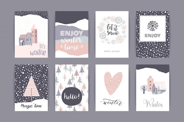 Conjunto de tarjetas de invierno creativas artísticas.