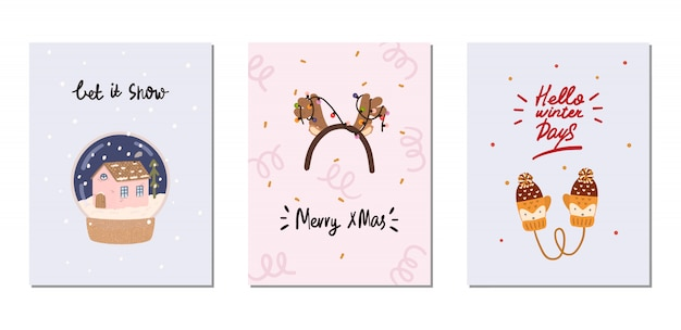 Conjunto de tarjetas de invierno con elementos tradicionales de invierno en estilo hygge. acogedora temporada de invierno. escandinavo