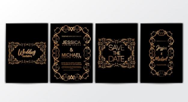 Conjunto de tarjetas de invitación de boda con concepto de lujo