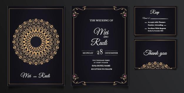 Conjunto de tarjetas de invitación de boda elegante