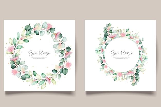 Conjunto de tarjetas de invitación de boda con flores de eucalipto