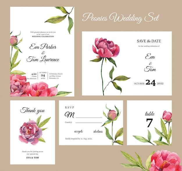 Conjunto de tarjetas de invitación de boda de flores de peonías, guarde la fecha, rsvp y número de tablas