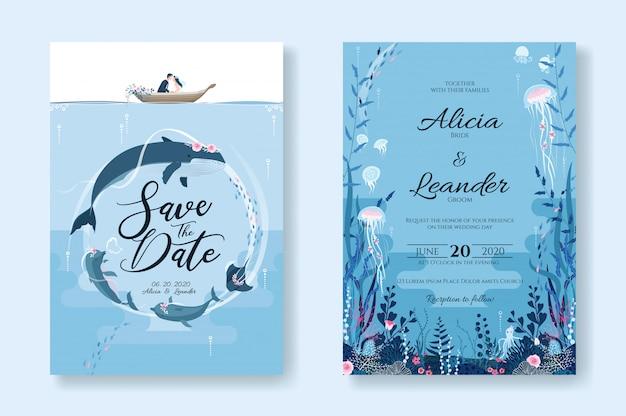Conjunto de tarjetas de invitación de boda, guardar la plantilla de fecha. sealife, bajo la imagen del mar.
