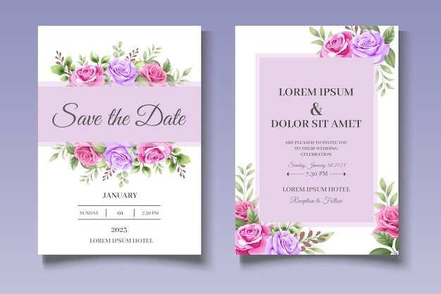 Conjunto de tarjetas de invitación de boda de hermosas flores
