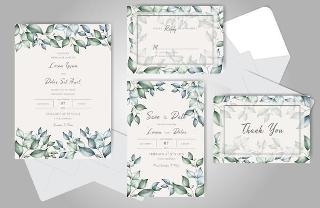 Conjunto de tarjetas de invitación de boda hermoso follaje