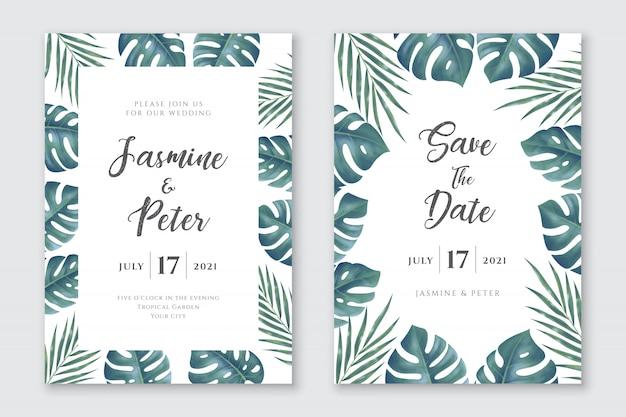 Conjunto de tarjetas de invitación de boda de hojas tropicales