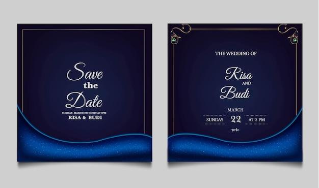 Conjunto de tarjetas de invitación de boda de lujo guardar la fecha