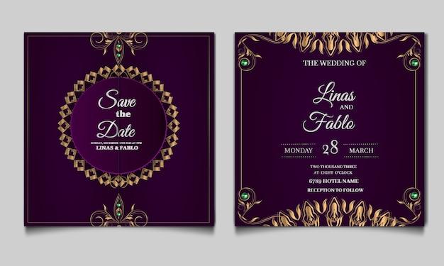 Conjunto de tarjetas de invitación de boda de lujo Vector Premium
