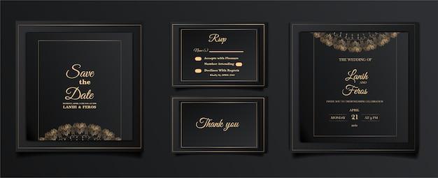 Conjunto de tarjetas de invitación de boda de lujo