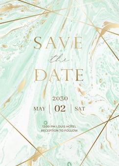 Conjunto de tarjetas de invitación de boda de mármol.