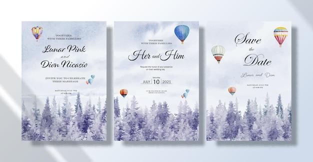 Conjunto de tarjetas de invitación de boda pinturas de paisajes de acuarela viajando con globos de aire caliente