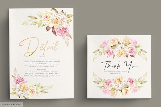 Conjunto de tarjetas de invitación de boda románticas rosas blancas acuarela