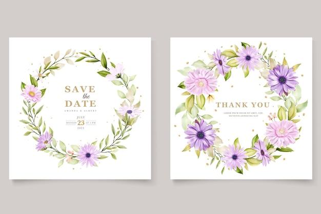 Conjunto de tarjetas de invitación de crisantemo acuarela