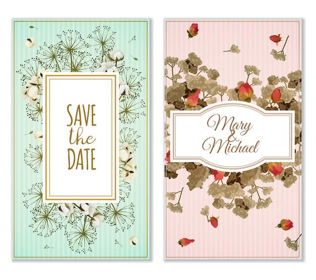 Conjunto de tarjetas de invitación con decoración de flores secas.