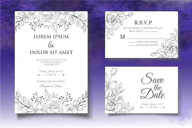 Conjunto de tarjetas de invitación de dibujo a mano lineart
