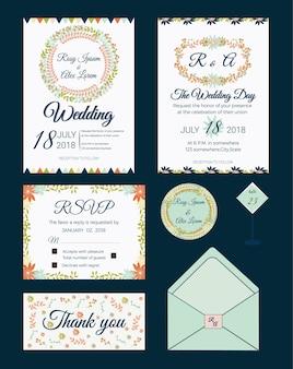 Conjunto de tarjetas de invitación con elementos de flores colección de bodas