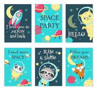 Conjunto de tarjetas de invitación espacio fiesta