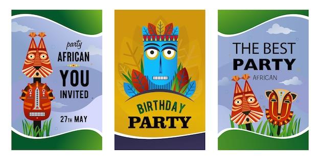 Conjunto de tarjetas de invitación de fiesta africana. máscaras tribales étnicas, ilustraciones de vectores de tótem tradicional con texto. diseño creativo para carteles publicitarios y volantes festivos.