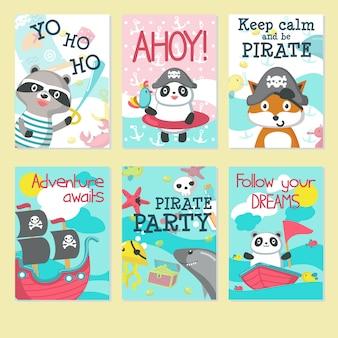 Conjunto de tarjetas de invitación fiesta pirata